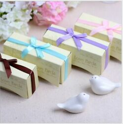 Love Birds Salt Or Pepper Shaker With Box And Ribbon Wedding Favors Gift Crafts
