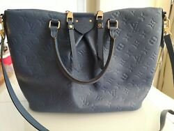 Louis Vuitton Leather Handbag With Handles, Authentic, Like New, Lvlogo Embossed