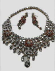 925 Silver Necklace Antique Rose Cut Diamond Ruby Victorian Style Women Necklace