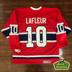 Guy Lafleur Signed Montreal Canadiens Red Vintage Ccm Hockey Jersey Size Large