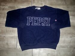 Vintage Pepsi Sweatshirt Blue Men's Size Small Pullover Fleece Sweater Spell Out