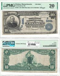 1902 10 Broadway National Bank Of Chelsea Ma 9651 Pmg Very Fine-20