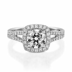Natural 1.50 Ct Diamond Solitaire Ring Solid 14k Hallmarked White Gold Halo Ring