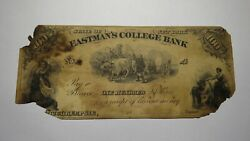 100 18__ Poughkeepsie New York Ny Obsolete Currency Bank Note Bill Eastman's