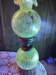 """Fenton Gwtw Lamp """"lily Trails"""" Topaz Opalescent Vaseline Hand-painted"""