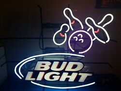 Bud Light Beer Bowling Alley Ball And Pins Neon Light Up Sign Bar Game Room Rare