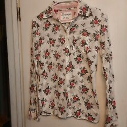 Aeropostale Womenand039s Semi Sheer Long Sleeve Button Up Floral Fitted Sz S Cotton