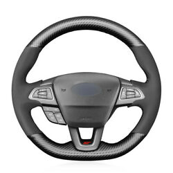 Hand Sewing Steering Wheel Cover Carbon Fiber Suede For Ford Focus Rs St St-line