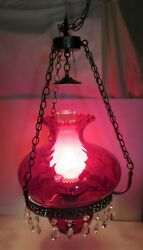 Vintage Ruby Red Glass Hanging Chandelier W Dangling Crystals
