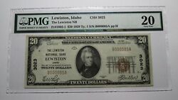 20 1929 Lewiston Idaho Id National Currency Bank Note Bill Ch. 3023 Vf20 Pmg