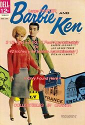 Barbie And Ken 1962 2 Doll Travel = Poster Very Large 3 1/2 X 6 1/2 - 7 Feet