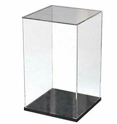 Clear Acrylic Display Case With Black Wood-plastic Base Countertop Box Cube