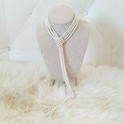 Elegant Authentic 4 Strand 30 Button Pearl Graduated Adjustable Necklace