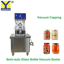 1/2/4 Stations Vacuum Capping Machine For Glass Bottle Glass Can Vacuum Sealing