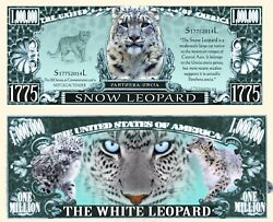Snow Leopard Novelty Dollar Comes In A Soft Polly Sleeve