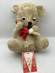 Vintage Commonwealth Musical Wind Up Plush Bear Eats Ice Cream Cone Rare Works