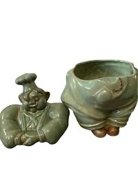 Vintage 1940's Red Wing Pottery Very Rare Green Chef Pierre Cookie Jar