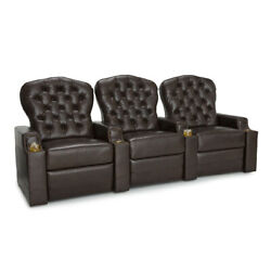 Seatcraft Imperial Home Theater Seating Leather Row Of 3 Damage See Images