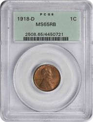 1918-d Lincoln Cent Ms65rb Pcgs