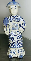 Porcelain Chinese Male Figure With Pipe And Fan