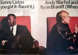 Original Vintage Travel Airlines Poster Andy Warhol Sonny Liston Fly On Braniff