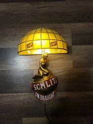 """Mint Vintage 1971 Schlitz On Draught Beer Wall Sconce Girl Globe Lamp 12"""""""