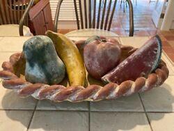 Authentic 1962 Andnbspxlarge Clay Fruit Bowl Center Peice Not A Copy Xl Andnbsp20 Inchandnbsp