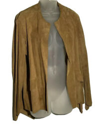 Sharon Roth Suede Jacket Open Front Womens Size 8 Tan Asymmetrical Hem Pockets