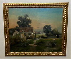 Antique 19th C French Barbizon School Signed Oil On Canvas Landscape Painting