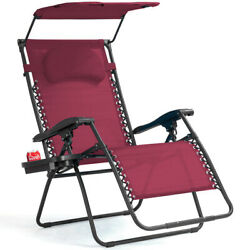 Folding Recliner Zero Gravity Lounge Chair W/ Shade Canopy Cup Holder Wine