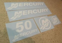 Mercury Vintage Outboard Motor 50 Hp Decal Kit Free Ship + Free Fish Decal