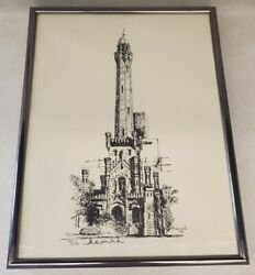 Vintage Pencil Signed Black And White Limited Print Chicago Water Tower Henri 1978