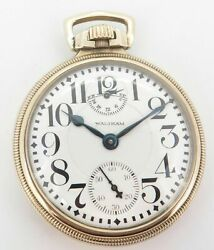 1923 Waltham Up Down 21 Jewel Gold Filled Open Face 16s Railroad Pocket Watch.