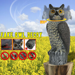 Large Wind Action Owl Decoy Decor W/ 360anddeghead Hunting Bird Pigeon Crow Scare N