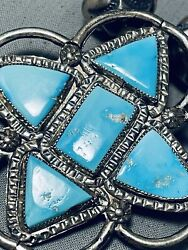 Audrey Edaakie Vintage Zuni Turquoise Sterling Silver Necklace Old