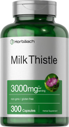 Milk Thistle Extract 3000mg | 300 Capsules | Non-gmo Gluten Free | By Horbaach