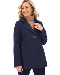 Bnwt Simply Be Navy Marl Single Breasted Flannel Coat Size Uk 12 Rrp Andpound49