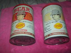 2 Bear Bryant Golden Flake Potato Chip Can Canister Alabama Football 1981 Tide