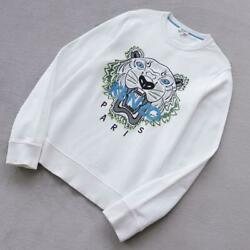 Kenzo Mens Tiger Embroidered Sweatshirt Long-sleeve Size S Color White Used