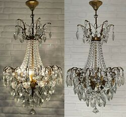 Matching Pair Of Antique Vintage Brass And Crystals Spider Chandelier Ceiling Lamp