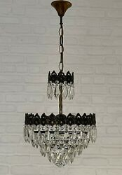 Antique Vintage Brass And Crystals Chandelier Lighting Ceiling Lamp Light 1950's