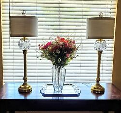Set Of 2 Waterford Casey Crystal Buffet Lamps W/ Original Harps, Shade And Final