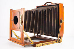 Antique Thornton Pickard 6x8 Inch Large Format Plate Camera With Lens Board V15
