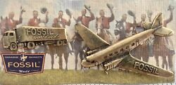 Fossil Vintage Inspired Airplane And Truck Pins Brooch Antiqued Gold Brass Tone