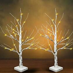24 Led Birch Tree With 24 Lights 2 Packs Tabletop Lighted Bonsai Birch