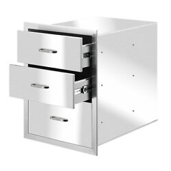 Outdoor Kitchen Triple Drawers 22.99 X 17.95 Stainless Steel Bbq Drawer