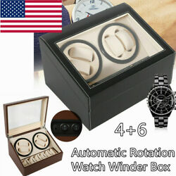 46 Automatic Rotation Leather Watch Winder Storage Case Box Silent Dual Motor