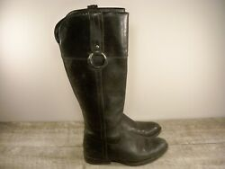 Frye Jamie Ring Tall 76222 Black Stonewashed Leather Womenand039s Boots Size 6.5 B