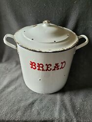 Vintage English Round Porcelain Enamelware Bread Box W/ Red Lettering