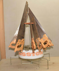 Super Disston Tin Hardware Store Display Rack Holds 16 Hand Saws Collectible Lot